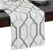 Modern Table Runners Modern Table Runner Charcoal Grey And White Colors 72 Inch Long