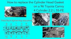 how to replace the cylinder head gasket on a 96 toyota camry 4