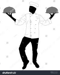 kitchen chef serving meal silhouette vector stock vector 524448802