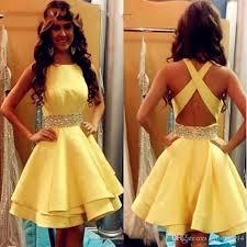 yellow prom dresses short 2017 girls satin beaded ribbon