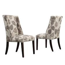 floral dining room chairs chelsea lane classic gray flower with leaves print wingback with