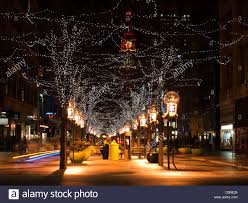 downtown denver at christmas 16th street mall lit up for the