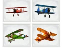 Aviation Home Decor Vintage Airplane Art Print Red Blue Nursery Biplane Flying