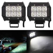 led security light bar 18w 6 led double line car diy work light bar flood white 6000k