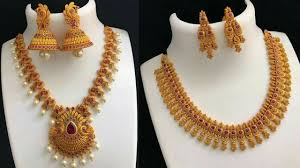 gold plated necklace set images Beautiful necklace designs for bride gold plated necklace jpg