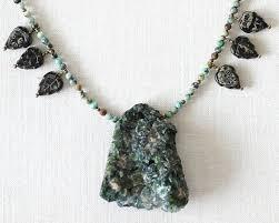 turquoise rock necklace images Kapkadesign large green beryl stone raw emerald druzy necklace jpg