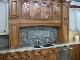 u shaped brown polished mahogany wood kitchen cabinet using white