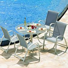 Casual Patio Furniture Sets - primera 5 piece aluminum patio dining set with 42 inch round glass