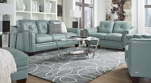 blue living room set cindy crawford home marcella spa blue leather 3 pc living room