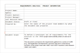Requirements Template Excel Sle Requirement Analysis Template 9 Free Documents In Pdf