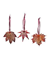 real maple leaf ornaments set of 3 copper ornaments ornament