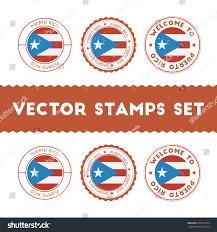 Puertorican Flag Puerto Rican Flag Rubber Stamps Set Stock Vector 393910444