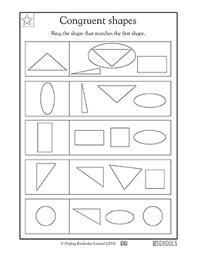 1st grade kindergarten math worksheets congruent shapes