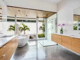 bathroom bamboo contemporary double sinks flat panel cabinets