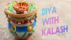 how to make diya with kalash decoration ideas for dipawali diy