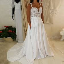 cheap wedding dress a line straps sweep satin chiffon wedding dress with pockets