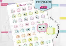 printable tv stickers kawaii tv printable planner stickers k008 partymazing