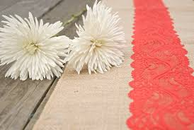 cheap coral table runners beach orange coral red vermillion lace burlap runner 12 x108