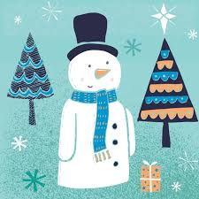 snowman with hat christmas card charity cards