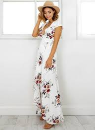 sleeve maxi dress v neck sleeve high split floral printed maxi dress