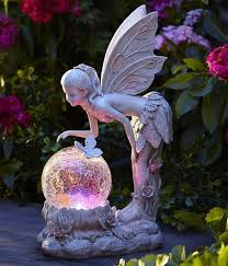 solar light globe statue color changing garden path
