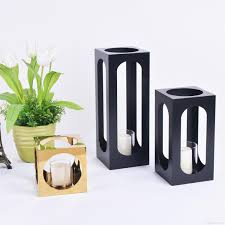home interior decoration accessories simple and generous design cuboid metal gold and black candle