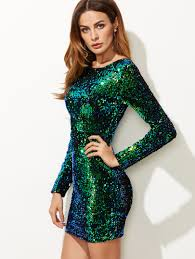 green iridescent long sleeve sequin bodycon dress dress online