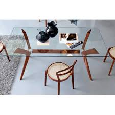 Round Glass Dining Table With Wooden Legs Dining Room Stunning Calligaris Glass Dining Table Interior