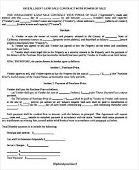 sample land contract agreement 6 examples in word pdf