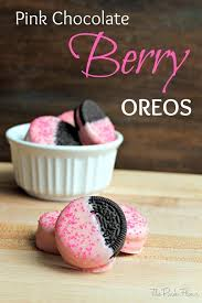 berry burst ice cream oreos dipped in pink tinted white chocolate