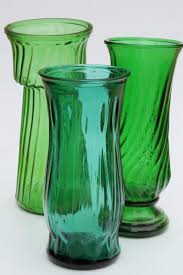 Swirl Glass Vase Vintage Collection Of Swirl Glass Flower Vases In Greens Teal