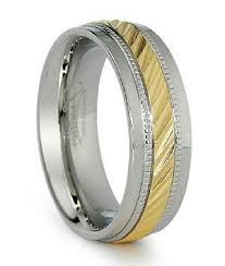 two tone mens wedding band stainless steel men s wedding ring two tone with milgrain 8mm