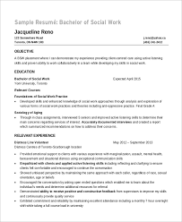 Sample Of Social Worker Resume by Sample Objectives For Resume 8 Examples In Word Pdf