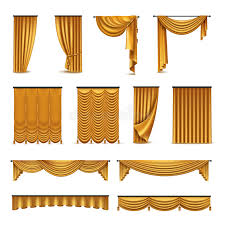 luxury drapery interior design golden curtains drapery realistic icons collection stock vector
