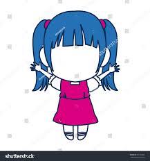cute anime chibi little cartoon stock vector 671393836