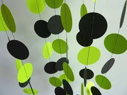 bright lime green and black garland paper garland bridal