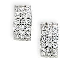 diamond earrings with price borrow jewelry 3 row diamond huggies earrings white gold stud