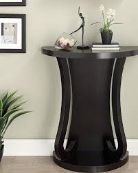 White Round Accent Table Furniture Cappuccino Finish Half Moon Console Sofa Entry Table