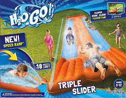 amazon com h2ogo triple water slide w speed ramp toys u0026 games