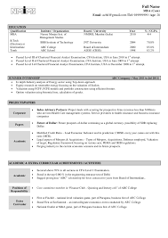 Example Of Mba Resume by Format For Mba Freshers Free Download In Word Pdf