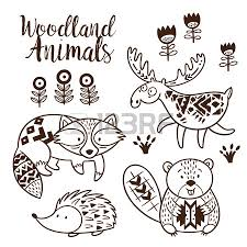 Woodland Animal Coloring Pages For Kids Hand Drawn On A White Woodland Animals Coloring Pages