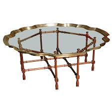 Glasses Coffee Table Large Pie Crust Molded Brass Glass Coffee Table Glass