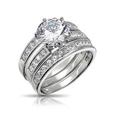 wedding ring set for cut cz 3 bridal engagement ring set sterling silver
