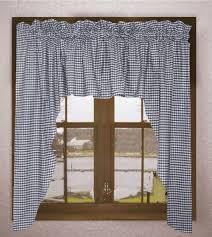 Blue And White Gingham Curtains Navy Blue And White Gingham Swag Valance