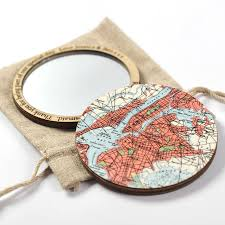 New York Pocket Map by Personalised Map Location Compact Pocket Mirror For Her By Bombus