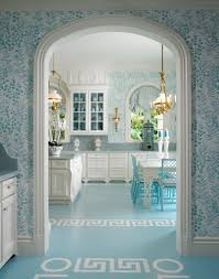 Greek Home Interiors by Scott Snyder Glam Kitchen Blue And White Wallpaper Greek Key