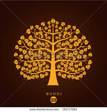 golden bodhi tree symbol vector illustration stock vector