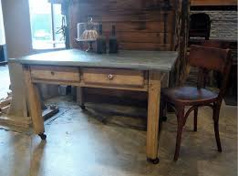 wood top work table antique french old zinc topped work table in beech wood with drawers