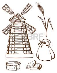 illustration drawing of a hand on a white background mill bread
