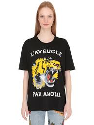 gucci tiger printed cotton jersey t shirt black mta2mq2 women